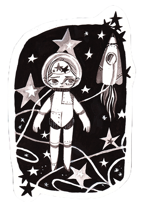 Poor drawing lonely. Astronaut by timjammi on