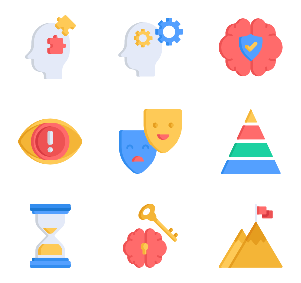 Opening vector background. Close icons free psychology