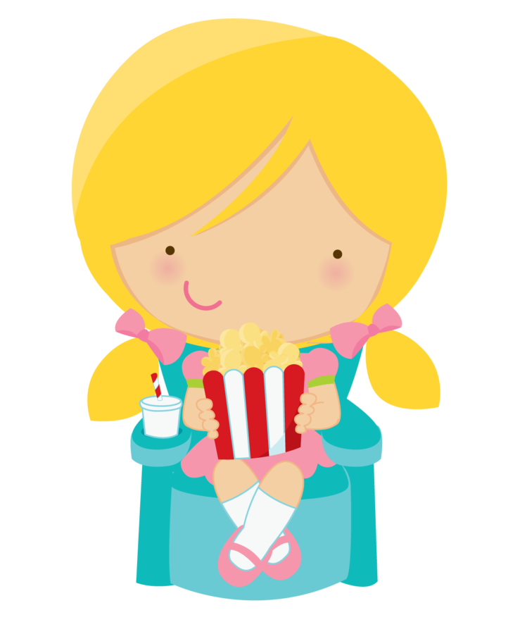 Popcorn clipart label. Cute girl eating minus