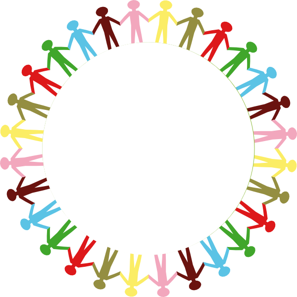 Vector ufo colourful. People holding hand group