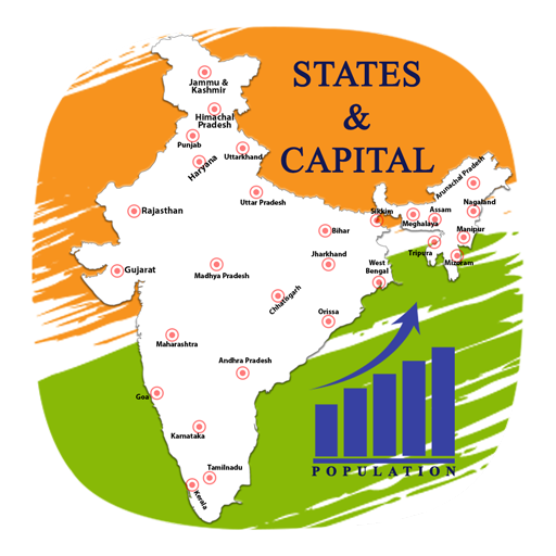 Population drawing india. Indian state capital map