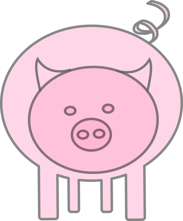 Pork drawing. Hampshire pig snout mammal