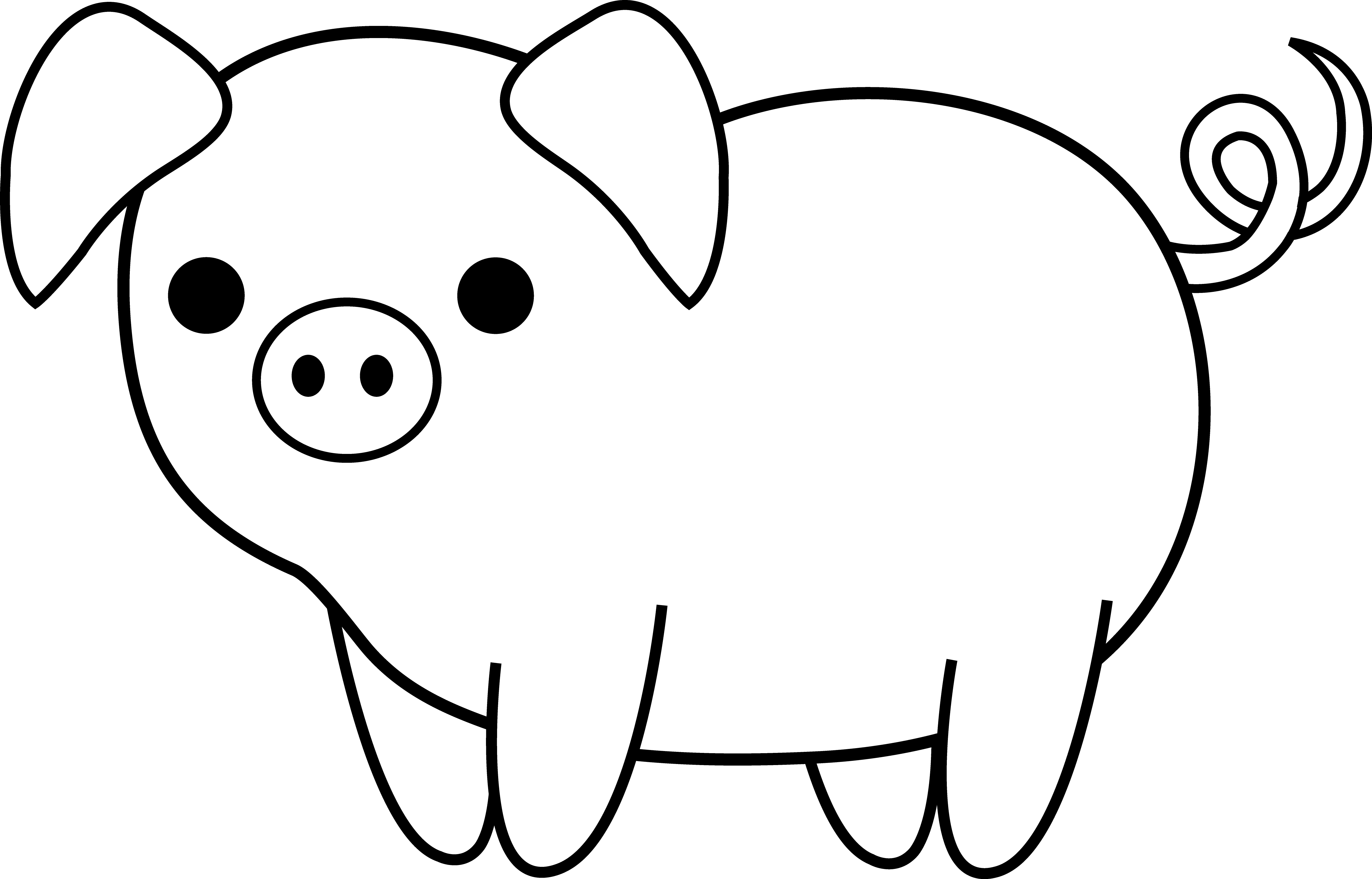 collection of cute. Pig clip art realistic clipart black and white stock