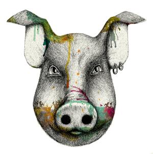 Pork drawing nose. Party menu the unruly