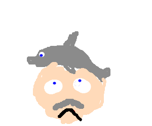 Porpoise drawing face. Man dis satisfied with