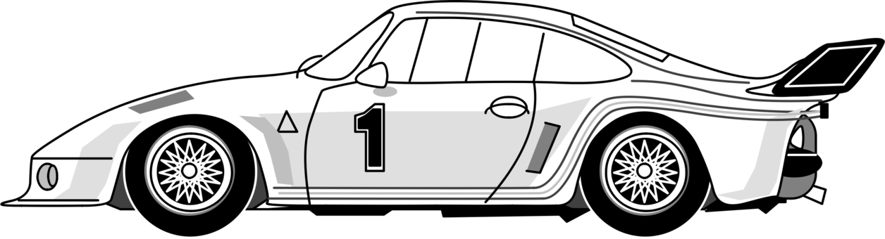 Porsche vector line drawing. Silhouette racing car free