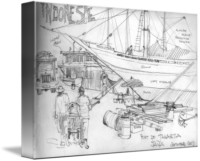 Port drawing sketch. Of jakarta indonesia by
