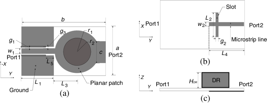 Port drawing side view. Geometry of the integrated