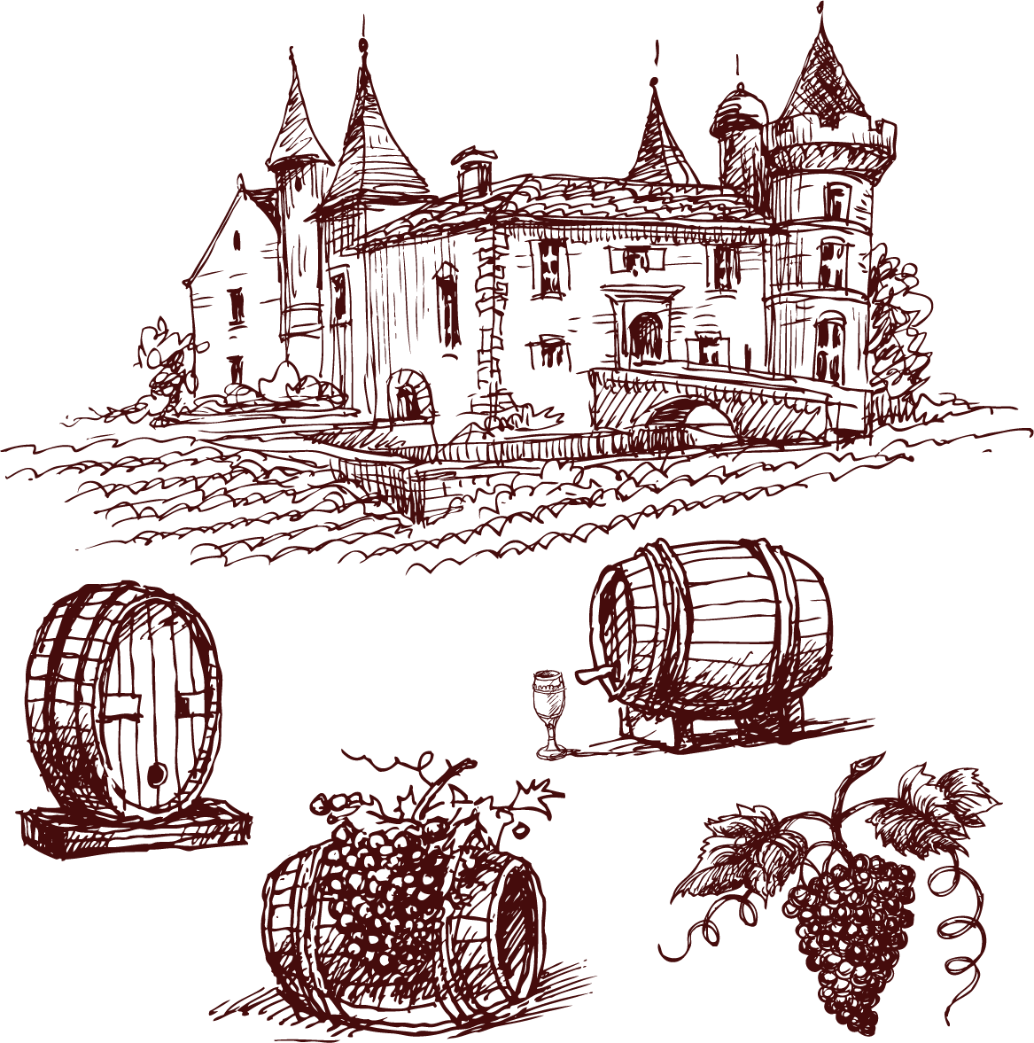 Port drawing. Red wine common grape