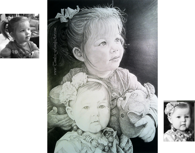 Drawing collages pencil. Hand drawn portraits from