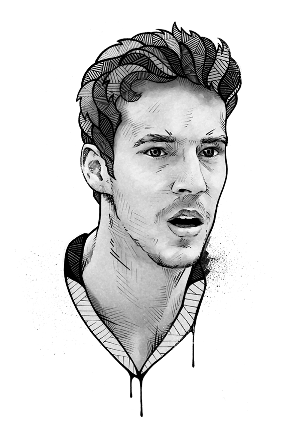 Portraits drawing. Espn magazine on behance