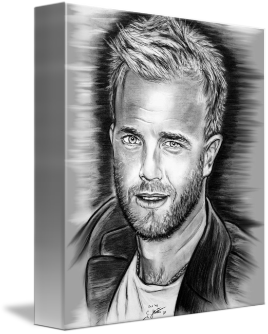Portraits drawing black and white. Gary barlow in by