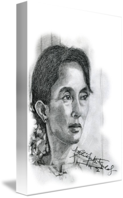 Surrealist drawing self portrait. Hand drawn of aung