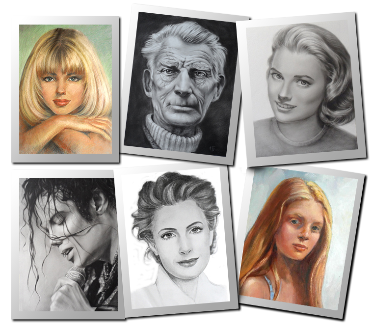 Portraits drawing family. Portrait painting olgas graphics