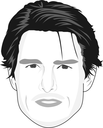 Portraits drawing line. Tom cruise caricature by