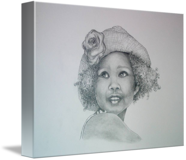 Portraits drawing little girl. In her favorite hat