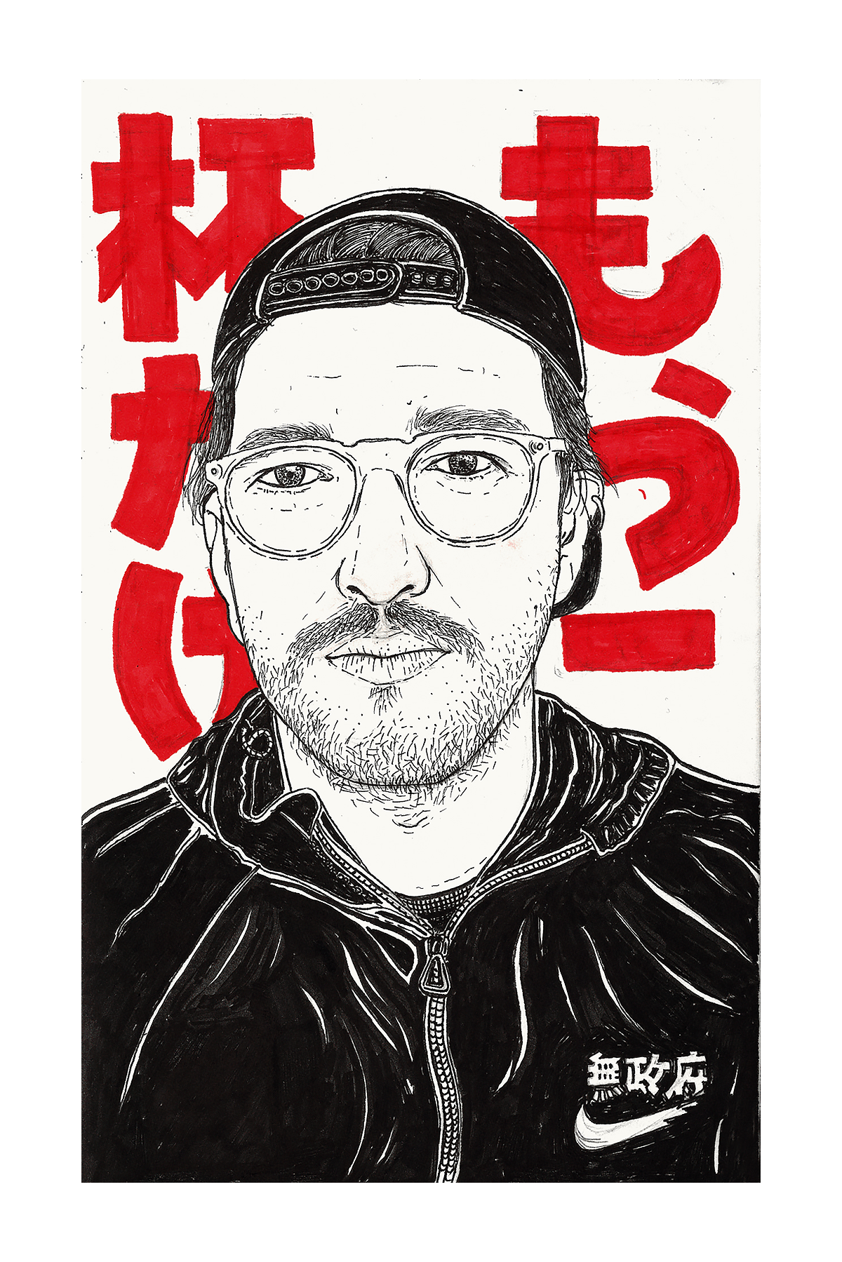 Portraits drawing marker. Nihon on behance black