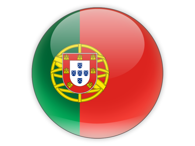 Portugal flag png. Round icon illustration of