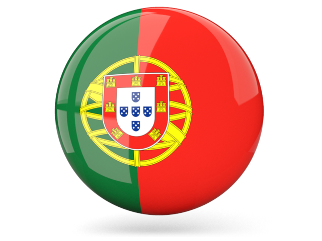Portugal flag png. Glossy round icon illustration