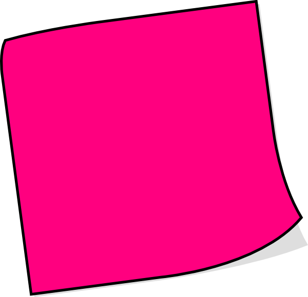 Post it clipart large. Pink sticky note clip