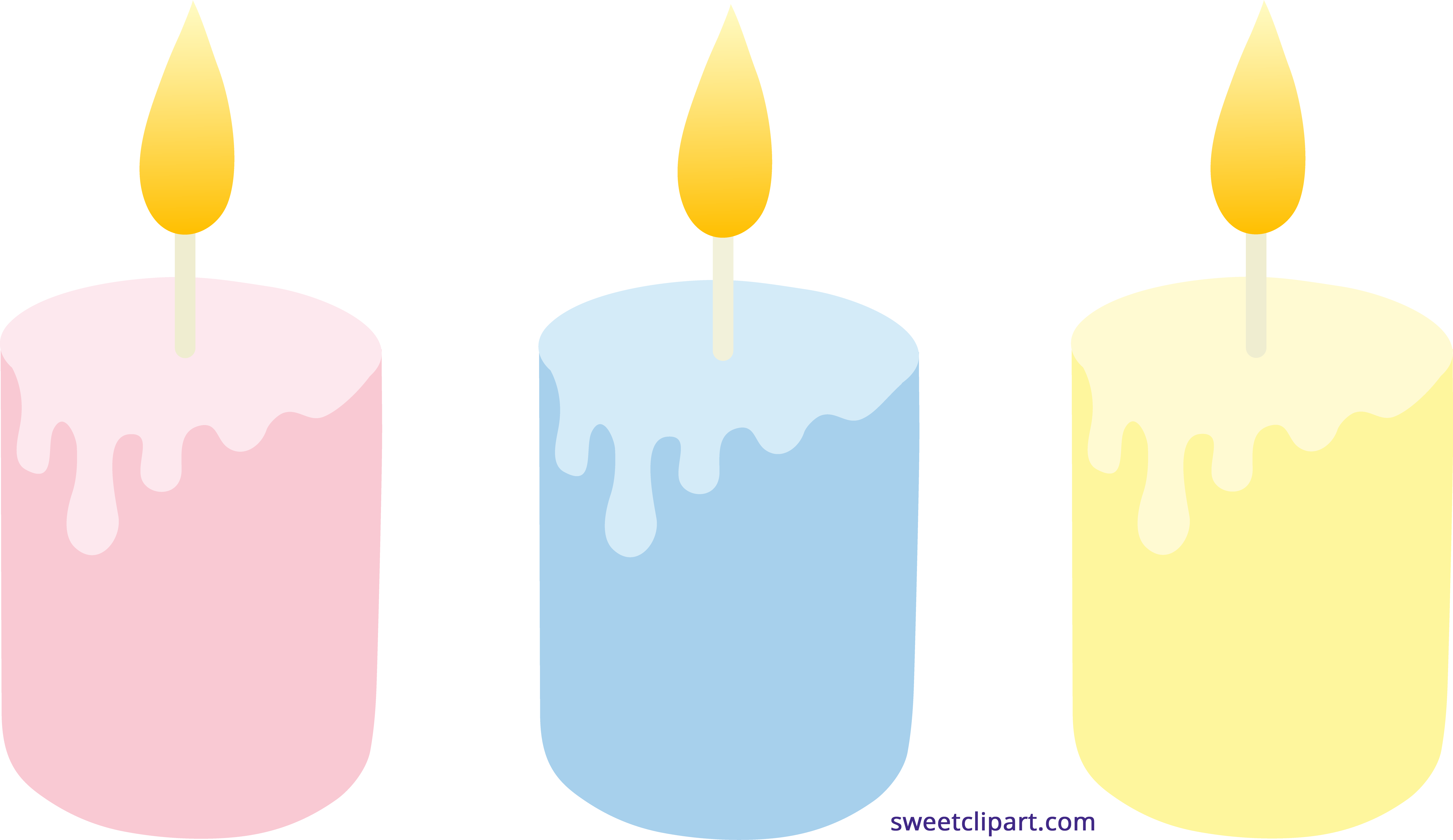 Post it clipart pastel. Colored candles set sweet