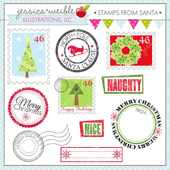 Stamp clipart christmas mail. Stamps from santa cute