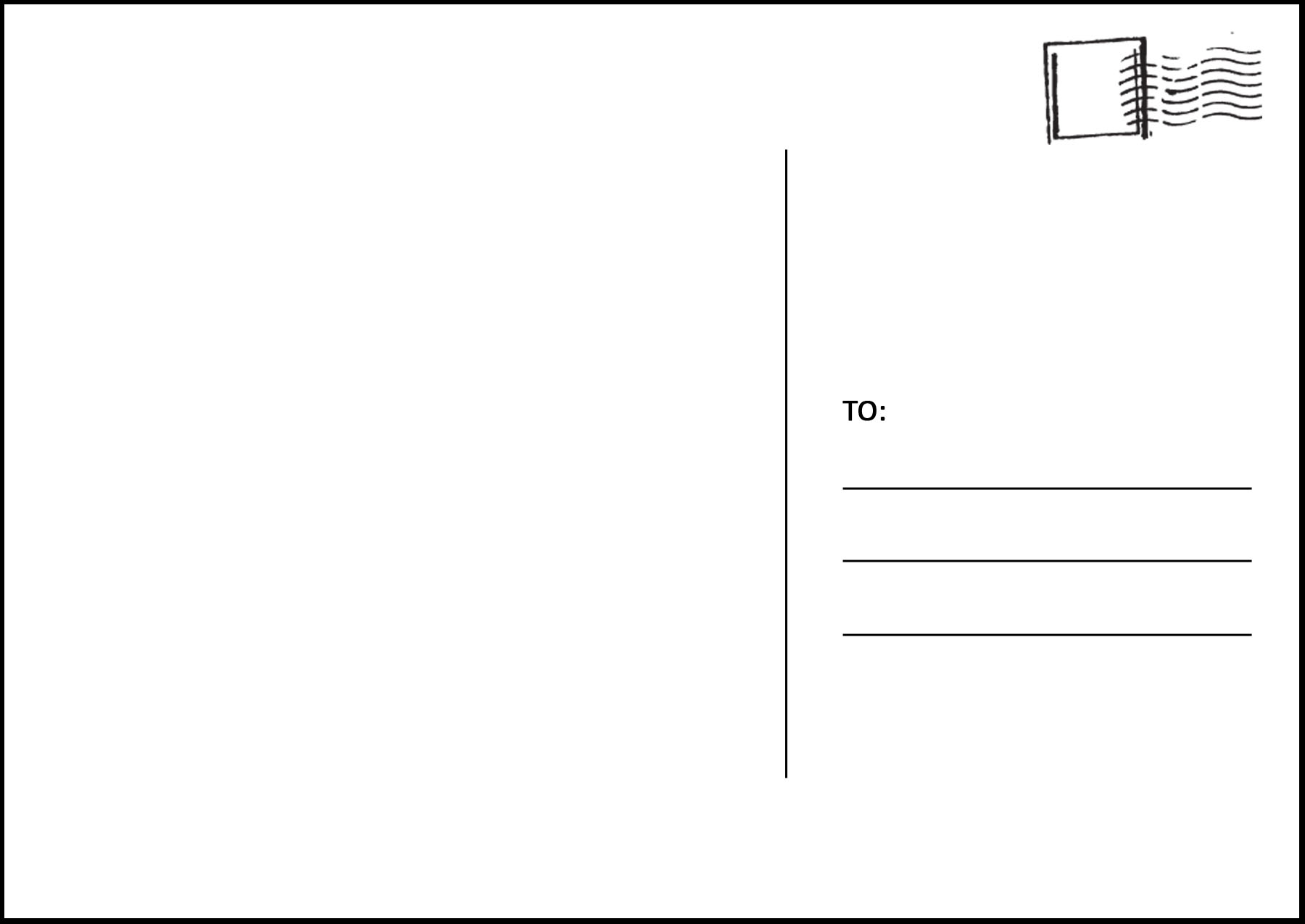 Postcard clipart plain. Template pencil and in