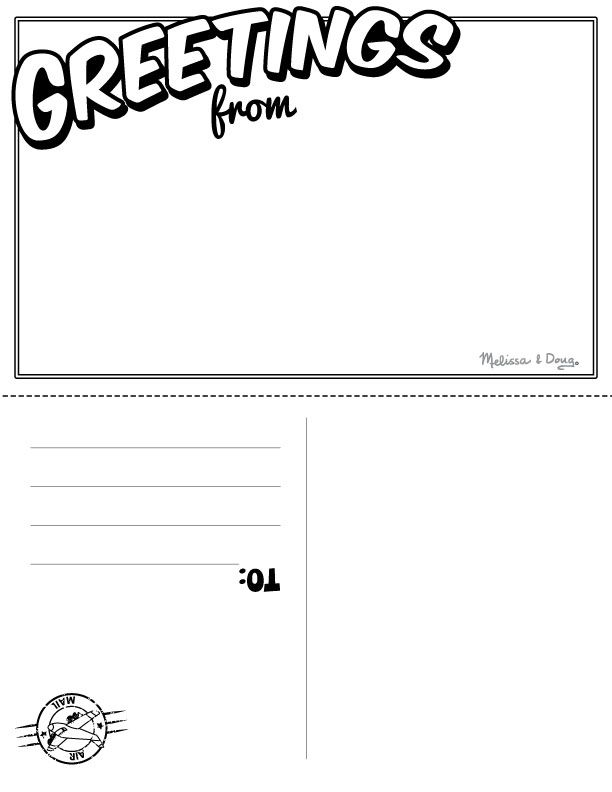 Postcard clipart postcard template. Blank pencil and in