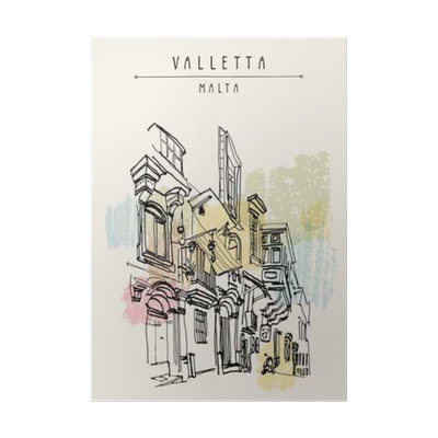 Valletta malta europe pedestrian. Postcard drawing svg freeuse download