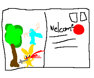 Postcard drawing. Happy tree friends welcome