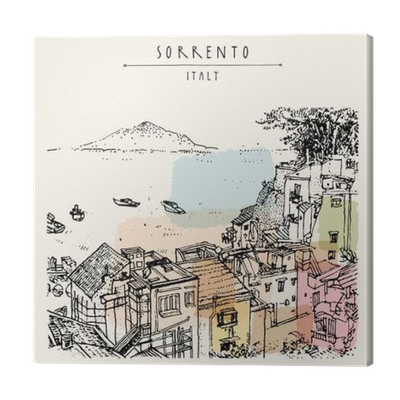 Postcard drawing artistic. Sorrento italy europe above