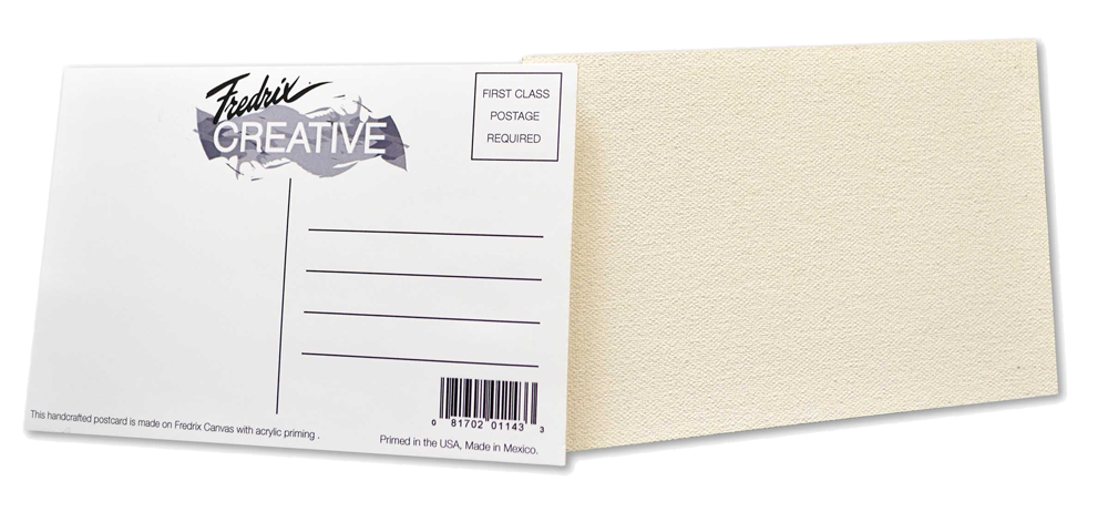 Postcard drawing blank. Fredrix canvas postcards placemats