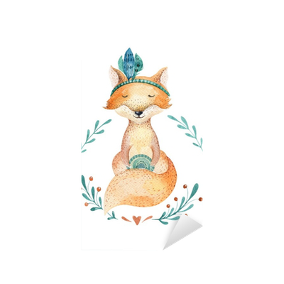 Postcard drawing children's. French style fox seamless