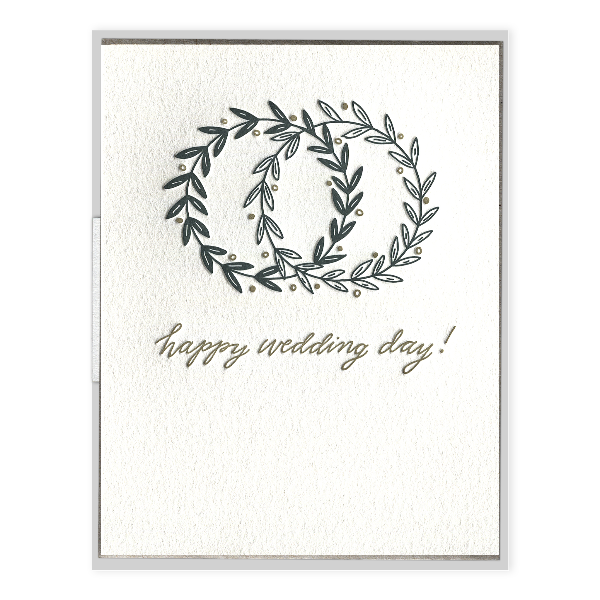 Happy wedding day letterpress. Postcard drawing vector library
