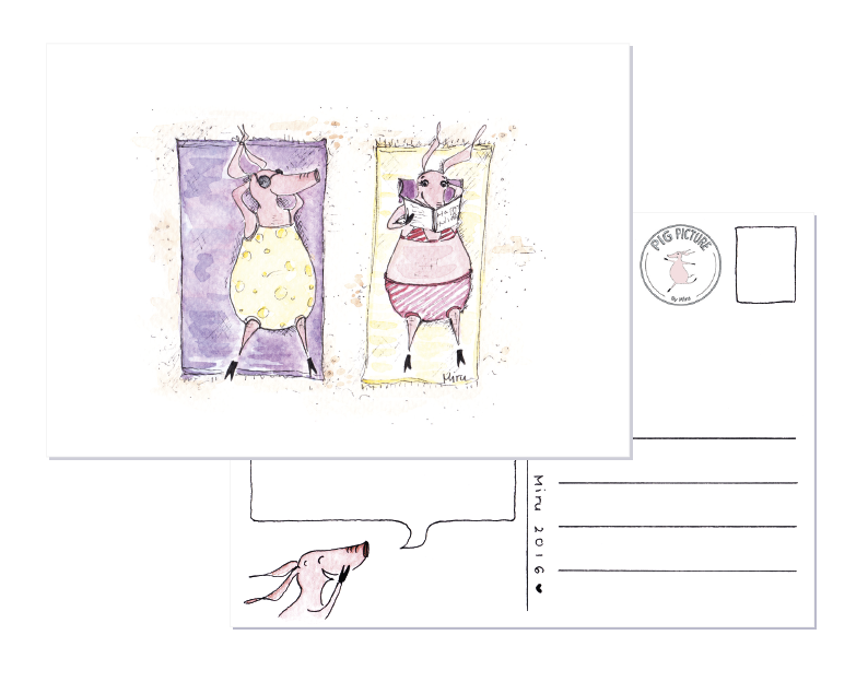 Postcard drawing illustrated. Pigs at the beach