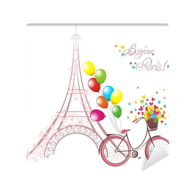 Postcard drawing romantic. Eiffel tower and bicycle