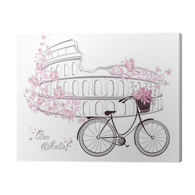 Postcard drawing romantic. Colosseum and bicycle from