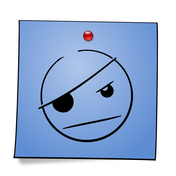 Postit vector blue. Post it smiley pirate