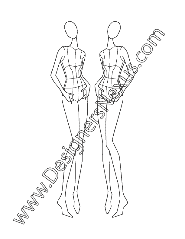 Posture drawing construction. Female fashion croqui three