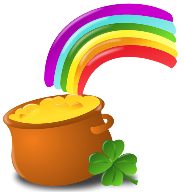 Pot of gold rainbow png. St patrick with picture