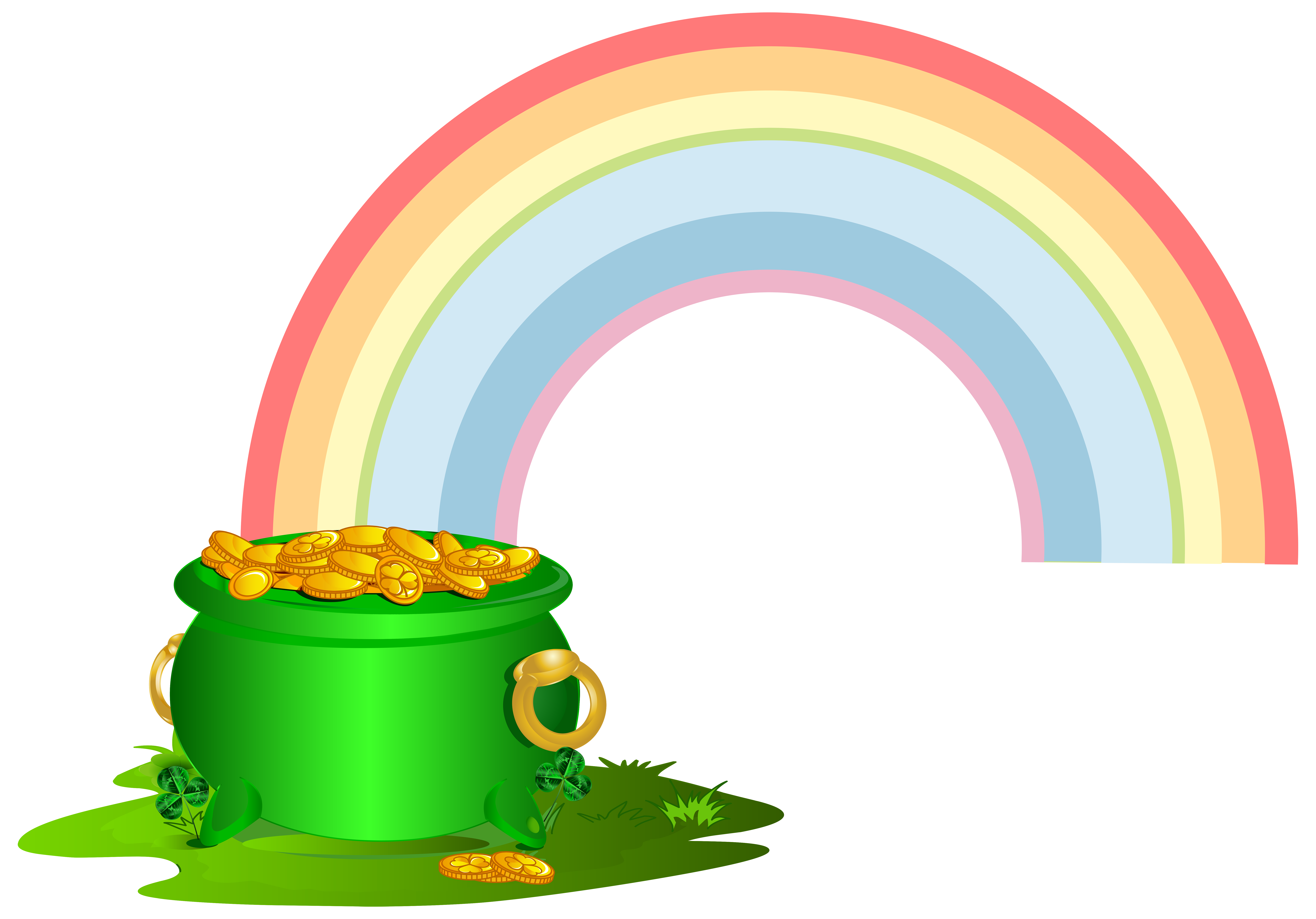 Pot of gold rainbow png. Green with clip art