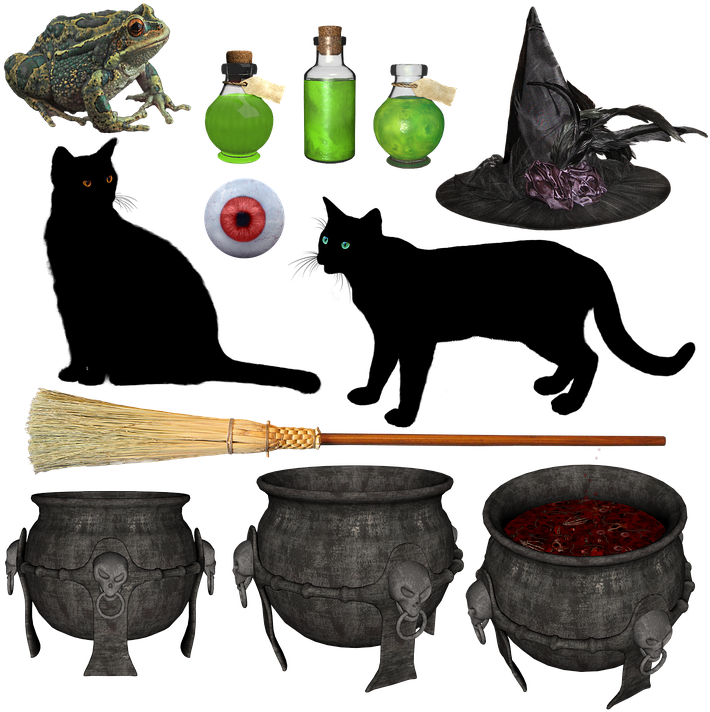 Potion transparent witch. Download halloween hat broom