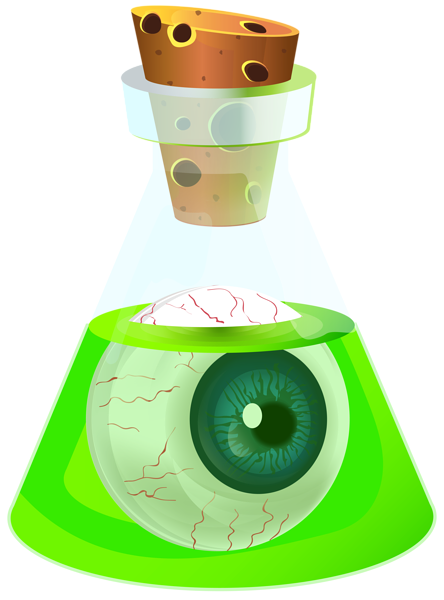 Potion transparent. Halloween poison with eyeball