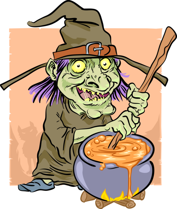 Potion transparent witch. Brews in kettle vector