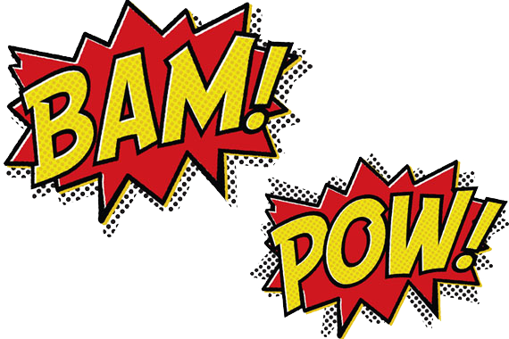Pow batman png. Bam cartoon message text