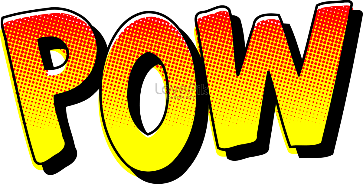 Pow! png retro. The sound effect of
