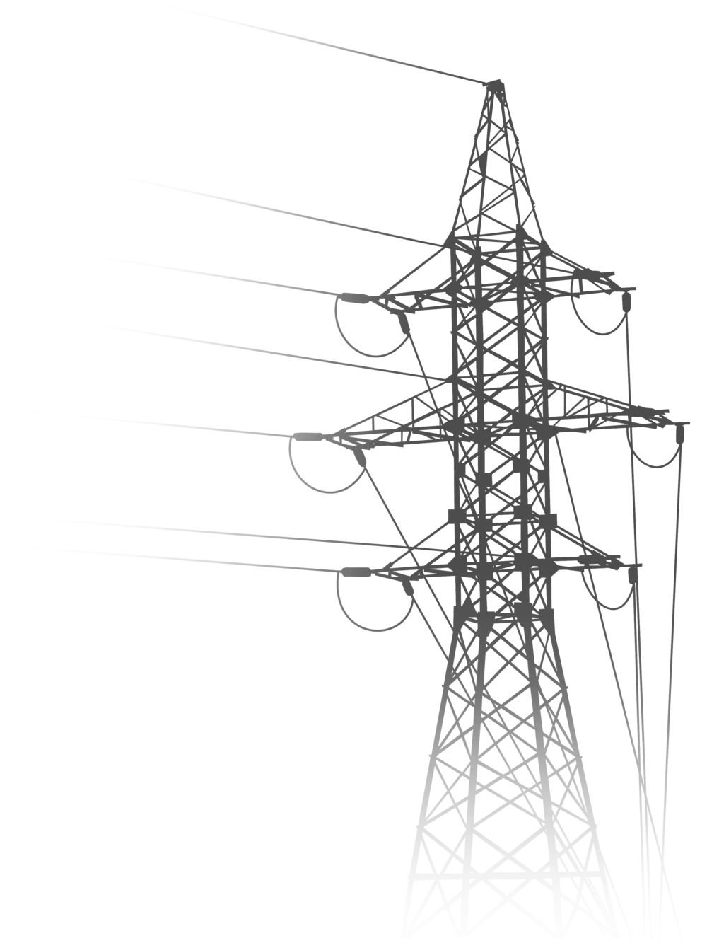 Pole vector high tension. Power line drawing at