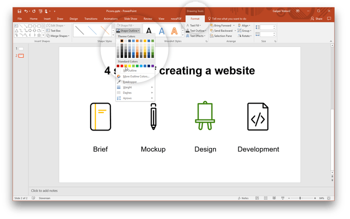 Powerpoint vector mockup. Using icons in picons