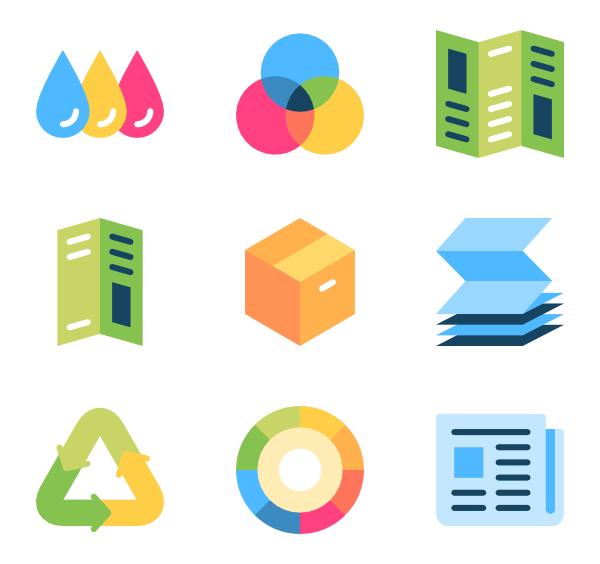 Powerpoint vector multi colour. Printer icons free print