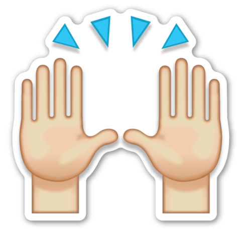 Prayer hands emoji png. Person raising both in